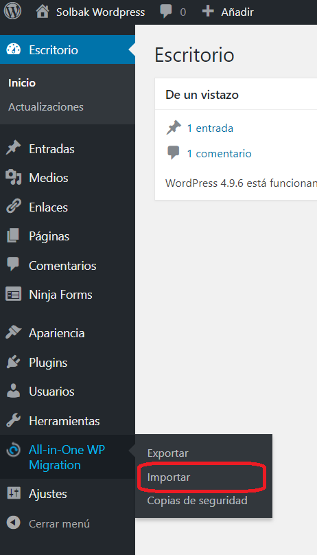 Menú all in one wp migration importar